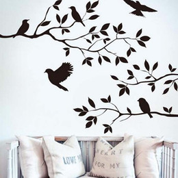 Wholesale Tree Branches Wall Stickers - 2016 Tree Branch and Birds Vinyl Art Wall Decal Removable Wall Sticker Home Decor wallpaper mural free shipping