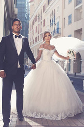Wholesale Elegant Ball Ivory Wedding Gowns - 2017 Said Mhamad Elegant Lace Wedding Dresses Appliques Off-the-Shoulder Tulle Bridal Ball Gowns Wedding Gowns Custom Made