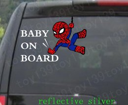 Wholesale Spider Car Decals - spider man   Vinyl funny Car phone wall Decal window decals sticker stickers  Color   reflective silver reflective red