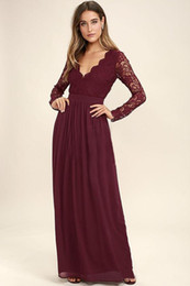 Wholesale Long Red Dress Lace Top - Burgundy Chiffon Bridesmaid Dresses Long Sleeves Western Country Style V-Neck Backless Long Beach Lace Top Wedding Party Pageant Dresses