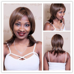 Wholesale Shoulder Length Wigs - 35cm Shoulder Length Hair Straight Mix Dark Brown Wig For Women Synthetic African American Bob Wigs With Bangs