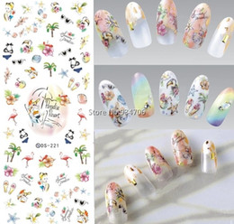 Wholesale fingernail decals stickers - Wholesale- DS221 DIY Nail Design Water Transfer Nails Art Sticker paradise resort Vacation Nail Wraps Sticker Watermark Fingernails Decals