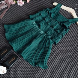Wholesale Chiffon Tops For Kids - Foreign trade 2016 popular ruffled chiffon vest tank tops and skirt dresses suit green beach sets girls kids clothes for summer 2 pieces