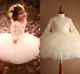 Wholesale Long Sleeve Shirts For Kids - Ivory Tutu Flower Girls Dresses For Weddings Cute Long Sleeves Ball Gown Kids Toddler Wedding Dresses Tulle First Communion Dresses