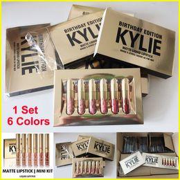 Wholesale Lipgloss Sets - Gold Kylie Jenner lipgloss Cosmetics Matte Lipstick Lip gloss collection lipsticks Mini Leo Kit Lip Birthday Limited Edition 6 Colors set