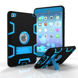 Wholesale Ipad Rubber Skin - 14colors 3 In 1 Shockproof Kids PC + Rubber TPU Hybrid Robot Case for iPad Mini 1 2 3 4 Air 6 Pro Heavy Duty Shell With Stand Skin Cover DHL