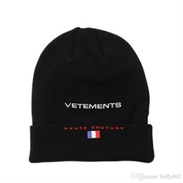Wholesale Hat Cold - 2017 New VETEMENTS Beanies HAUTE COUTURE LOGO France Flag Wool Cap Knitted Hat Fashion Men Women Cold Cap HFLSMZ002