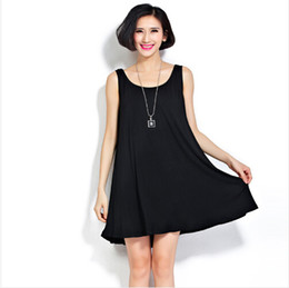 Wholesale Casual Vest Styles For Women - 2016 Summer New Plus Size Women dress Casual Style Easy Match Camis Long Basic Modal Vest Dresses for Ladies Black