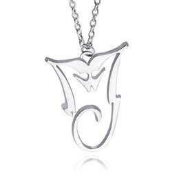 Wholesale Michael Necklace - 2016 Michael Jackson Necklace Silver Plated Pendant MJ King Of Pop Thriller Moonwalker MJ Bad logo Wholesale Jewelry zj-0903668