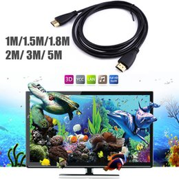 Wholesale Hdtv Receiver Hdmi - 1M,2M,3M,5M,1.5M,1.8M High Speed Gold Plated Plug Male-Male 1080P 3D HDMI Cable 1.4 Version for XBOX PS3 HDTV Satellite Receiver