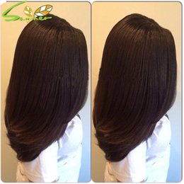 Wholesale Gluless Lace Wigs - 7A Gluless Lace Wigs Human Hair Black Women Lace Front Kinky Straight Wig Italian Yaki Cosrse Yaki Full Lace Wig With Baby Hair