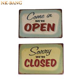 "Wholesale Open Pub - Wholesale- 2PCS 20*30CM ""COME IN WE'RE OPEN"" and ""SORRY WE'RE CLOSED ""Vintage Metal Sign Tin Poster Pub Bar Cafe Shop"