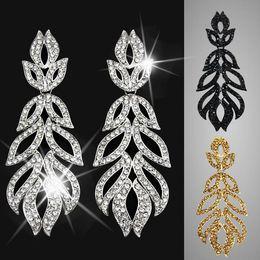 Wholesale Womens Gold Dresses - Big Silver Crystal Statement Earrings for Women leaf rhinestone drop earings fashion jewelry bijouterie womens dresses ers-g91