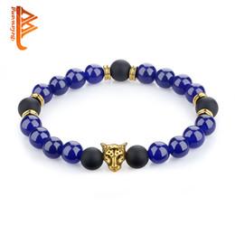 Wholesale Womens Stone Bracelets - BELAWANG Wholesale Onyx Blue Natural Energy Stone Beads Bracelet Gold Plated Leopard Head Strands Bracelet For Mens Womens Free Shipping