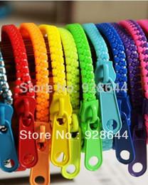 Wholesale New Zip Bracelet Wristband - New Zip Bracelet Wristband Candy Bracelets Popular Zipper Bracelet Mix Colors 1000pcs lot 0602fineworks