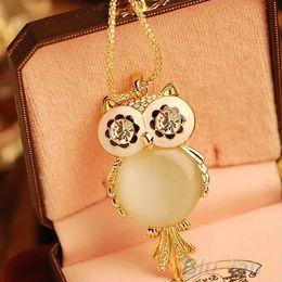 Wholesale Long Owl Eyes Necklace - Necklaces Pendant for Women Alloy Rhinestone Statement Hot Snowflake Shape Eye Owl Pendant Necklace Long Chains Necklace Pendant