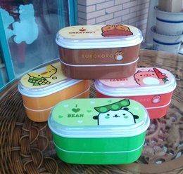 Wholesale Plastic Children Lunch Box - Cartoon Pattern Healthy Plastic Bento Box 600ml Children Lunch Bento Boxes Students Food Container Dinnerware Lunchbox Cutlery
