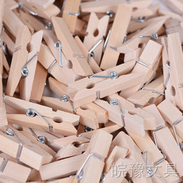 Wholesale Craft Pegs - Wholesale Very Small Mine Size 35mm Mini Natural Wooden Clips For Photo Clips Clothespin Craft Decoration Clips Pegs 100Pcs