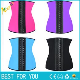 Wholesale Wholesale Latex Slimming Corsets - 9 steel bone Latex Rubber corset body shaper Waist Trainer training corsets Corset Latex Corset Latex Waist Cincher Slimming Shapewear hot
