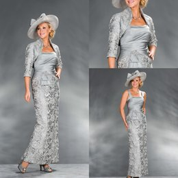 Wholesale Silver Color Brooches Blue - 2018 Silver Lace Mother of the Bride Dresses Outfits Suits With Jacket Taffeta vestido de madrinha vestido de festa de casamento