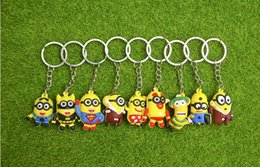 Wholesale Despicable Minion 3d - 3D Cartoon Minions Toy Key Ring Despicable Me Mini Minion Keychains Doll Kids Toys LED Light Voice Keyring Men Trinkets Charms