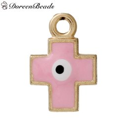 "Wholesale Evil Eye Cross Charm - Zinc Based Alloy Charms Cross Rose Gold Pink Enamel Evil Eye Pattern 19mm( 6 8"") x 13mm( 4 8""), 10 PCs 2016 new Free shipping jewelry making"