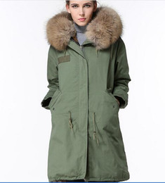 Wholesale Red Coat Hood Women - grey fur 2016 Mr & Mrs Furs long army coats with rabbit fur lined Luxurious Fur Coats Mr & Mrs itlay long canvas parkas