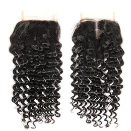 Wholesale Select Natural - 8A Brazilian Kinky Curly Lace Top Closures Hand-selected Human Hair Closure Bleach Knots Free Part 1b Color Free shipping