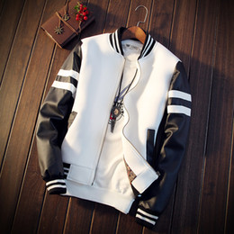 Wholesale white mandarin jacket - Wholesale- Man new coats leather supplier simple black and white short stylish men jacket(Asian size M-5XL)