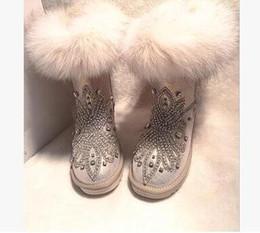 Wholesale Heavy Sewing - 2017 European fashion original high-end luxury fur fox heavy manual diamond bottom waterproof rubber boots shoes free shipping