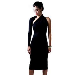Wholesale Womens Dresses Club Elegant - Womens Modal Solid Black Cotton Elegant Sexy One Shoulder Sheath Long Sleeve Casual Party Bodycon Pencil Dress Vestidos