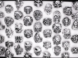 Wholesale Wholesale Size Vintage - Free Shipping Mixed 30pcs Top-quality Gothic Punk Assorted Wholesale Lots Skull Style Bikers Men's Vintage Tibetan Rings