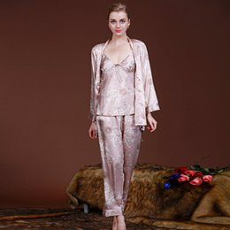 Wholesale Satin Night Gowns For Women - Wholesale- 3pcs Women Spring Pajama Sets M L XL XXL Silk Satin Nightgowns Robes For Women Dragon Sleepwear Nightwear Sexy V-Neck Night Gown