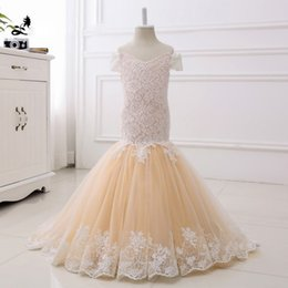 Wholesale Evening Pageant Dresses For Kids - Mermaid Lace Flower Girl Dresses for Weddings 2017 Champagne Kids Evening Dress Holy Communion Dresses For Girls Pageant Gowns