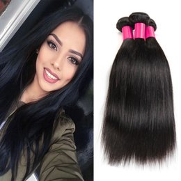 Wholesale European Human Hair Virgin Extensions - 7A Unprocessed Peruvian Virgin Hair Straight 3 Bundles Cheap Human Hair Weaves Brazilian Peruvian Straight Virgin Human Hair Extensions