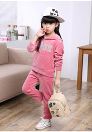 Wholesale Colour Girls Pants - 2016 Baby Girl boy Kids cartoon sports Clothes set Hoodied Coat tops Pants 2pcs Sweatsuit baby Girl Spring Fall OutfitsTracksuit suit