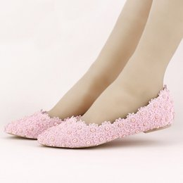 Wholesale Beautiful Dance Shoes - Flat Heels Pearl and Lace Flower Bridal Shoes Pointed Toe Wedding Party Dancing Shoes Beautiful Bridesmaid Shoes Women Flats