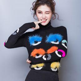 Wholesale Cotton Wool Turtlenecks - High Quality 2016 New Autumn Fashion Popular Women Sweaters Little Monster six Eyes Fur Wool Turtleneck knitting Shirt pullover Sweaters