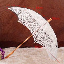 Wholesale Blue Lace Parasol - Free Shipping Vintage Lace Umbrella Handmade Cotton Embroidery White Beige Lace Parasol Umbrella Wedding Decor Photography Prop JL0026
