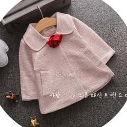 Wholesale Baby Girls Pink Ruffle Coat - Kid Flower Ruffle Girls Tops Kids Trench Coats Korean Girl Dress Children Outwear 2016 Autumn Coat Child Clothes Baby Clothing Ciao C27635