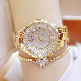 Wholesale Zircon Suits - Fully-jewelled Zircon Quartz Movement Round Dial Fashion Ladies Dress Watches Analog Lucky Stone Bracelet Watch Bow Tie Bracelet Suit FA0280