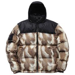 2019 cappotto di pelliccia blu cappotto uomini 13FW T X SUP Piumino Pelliccia Stampa Nuptse Cappotti Paio Cappotto Inverno Capispalla Moda S ~ XL HFYRF001