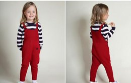 Wholesale Knitted Children Clothes - New Winter Children Clothing Kids Boy Knitted Romper Jumpsuits Girls Bib Suspender Harlen Long Pants Toddler Cute Trousers With Pocket