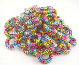 Wholesale Hair Tie Elastic Scrunchies - Wholesale 100 Pcs Colorful Telephone Wire Cord Line Gum Holder Elastic Hair Band Tie Scrunchy 3.5cm Hair Accessory