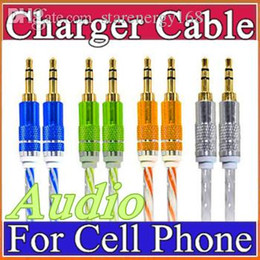 Wholesale Cable Iphone Mini Jack - 3.5mm Stereo Audio AUX Cable Dual Color Wire Auxiliary Cords Jack Male To Male 1M 3FT For Iphone Samsung Mobile Phone N-SJ