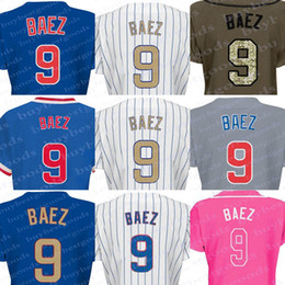Wholesale Ladies Army Shirt - 2017 Women's Gold Chicago #9 Javier Baez Baseball Jerseys Ladies Shirt White Blue Grey Pink Fashion Stitched Size S-2XL