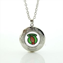 Wholesale Brown Crystal Necklace - Fresh green and brown rugby football jewelry locket necklace sport rugby picture jewelry gift for children and kids NF078