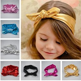 Wholesale Baby Headhands - Hot Baby Hairband Girls Lovely Bow Hair Band Infant Cute Bunny Hare Rabbit Ear Headwrap Elastic Metallic Lustre Headhands 7 Color I4253