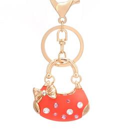 Wholesale Car Gift Bows - 10pcs Creative Rhinestone Bow Handbag Keychain Novelty Fashion gold plated alloy Key Chain Ring Bag Charm gift wholesale