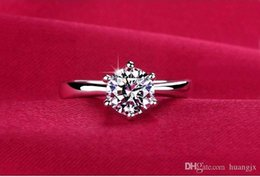 Wholesale Simulated Diamond Rose Gold - Austria Simulated Diamond Rings Wedding Love Luxury Aneis Rhinestone Jewelry Silver Plated Glowing Ring For Women